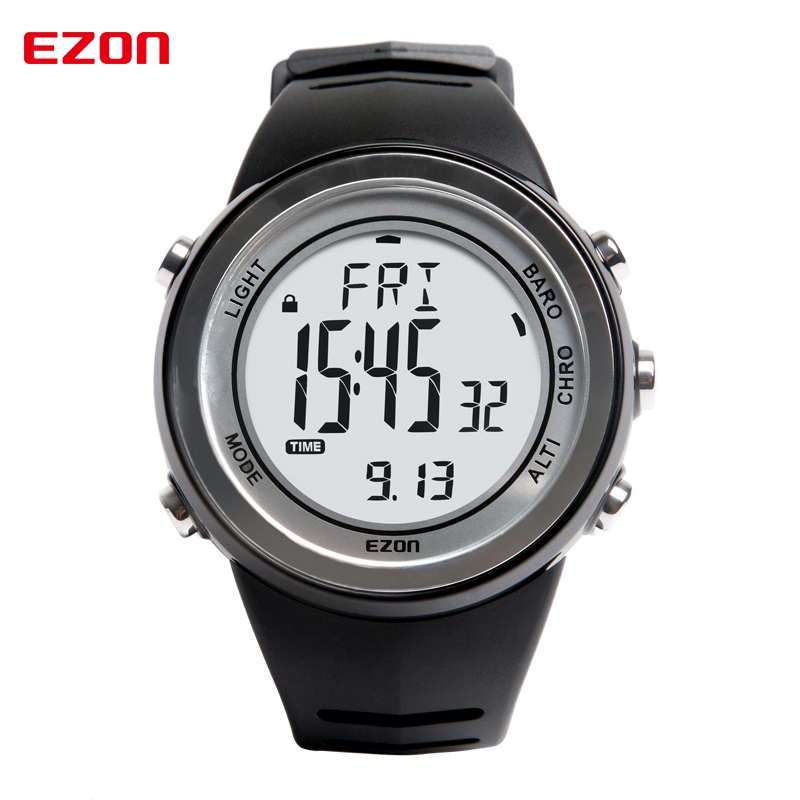 Free Shipping EZON H009A15 Outdoor Climbing Waterproof Sports Watch Altimeter Barometer Thermometer Mens Sport Watch Digital north edge men sports watch altimeter barometer compass thermometer weather forecast watches digital running climbing wristwatch