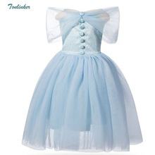 Girls Princess Cinderella Sling Sleeveless Costume Dress Cosplay Halloween Birthday Party Fancy Blue Christmas Gift