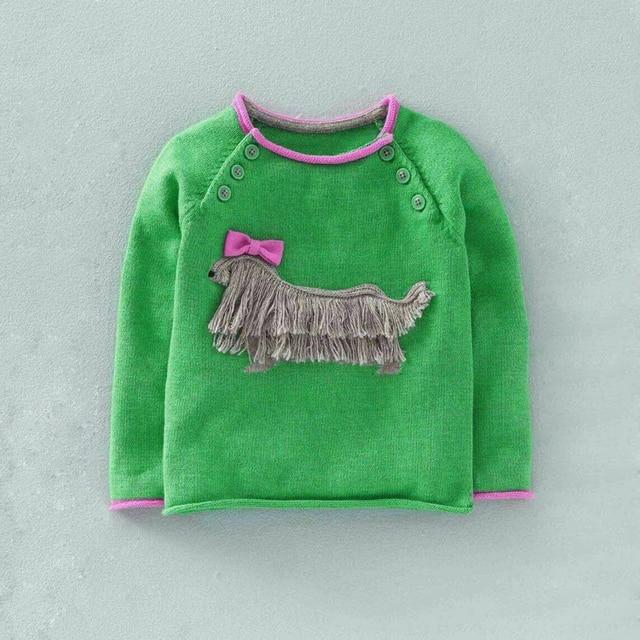 2016 Brand Tassel Bows Girls Knitwear Children Cartoon Sweater 3D Artificial Plush Dog Decoration Autumn Kids Cotton Pullover