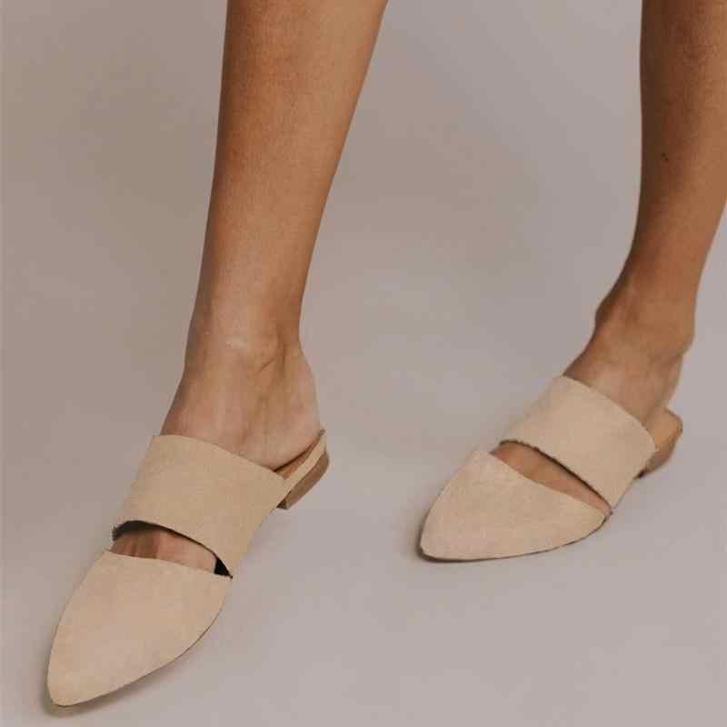 Простые туфли на плоской подошве с леопардовым принтом, домашние туфли без задника, праздничные сандалии с острым носком, Летняя женская обувь для женщин, 2019, большие размеры, босоножки