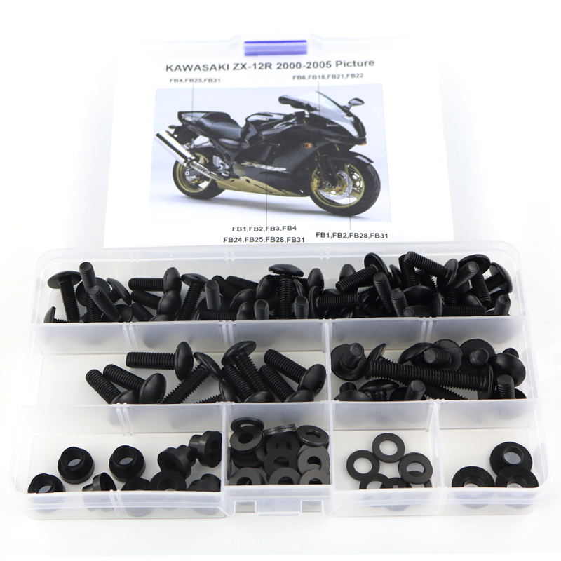 For Kawasaki ZX12R ZX-12R 2000 2001 2002 2003 2004 2005 Complete Fairing Bolts Kit Motorcycle Cowling Full Fairing Kit Nut Steel