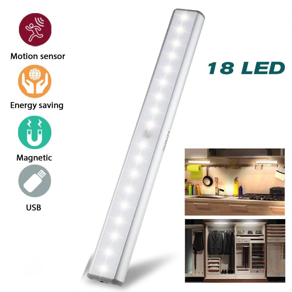 Under Cabinet Lights Closet Lights Motion Sensor 18 LED USB Rechargeable Wireless Cabinet Lighting Magnetic Stick Emergency