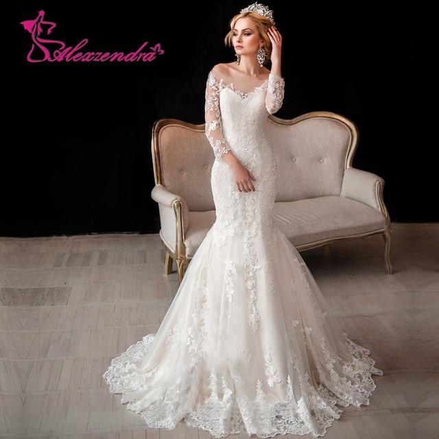 vestido de noiva vintage de manga larga de encaje vestidos de novia