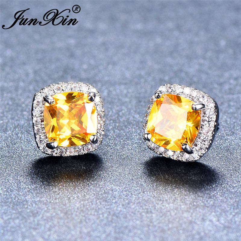 JUNXIN Chic Yellow Stone Square Stud Earrings For Women Silver Color Nov Birthstone Double Earrings Zircon Jewelry