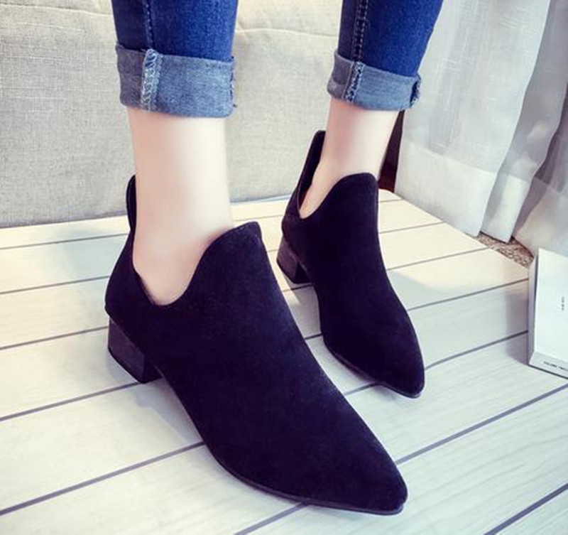 10..2016 Spring and autumn Women Boots British style tip in with coarse Single shoes and Ankle Boot cowboy Martin boots
