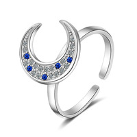 Women S Fashion Silver Ring Moon Style Cubic Zirconia Solid 925 Sterling Silver Ring Jewelry Friendship