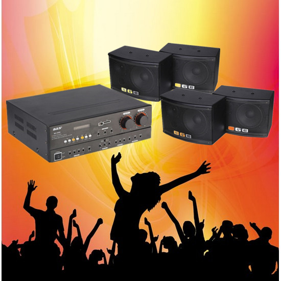 US $768 0  Germany professional KTV conferance meeting system bluetooth U  disk/SD 400W audio amplifier+ 4pcs big power wall speakers 220V-in  Amplifier