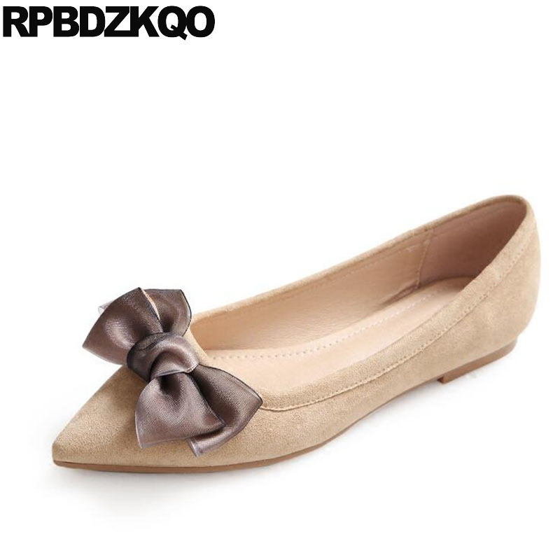 Suede Dress Nude Bow Party Slip On Ballerina Ladies Gray Women Flats Shoes With Little Cute Bowtie Cheap Pointed Toe 2018 Ballet women ballerina pointed toe ladies designer shoes china 2018 ballet ankle strap suede pink cute elastic flats japanese cross