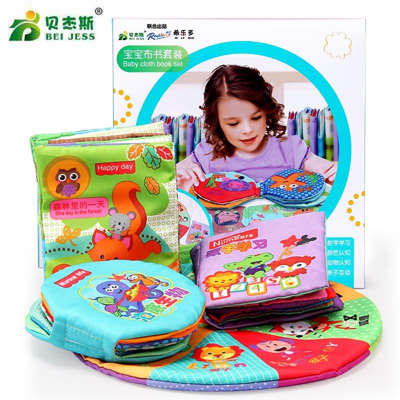 BEI JESS 4 pièces/ensemble histoire d'animaux berceaux mobiles en tissu doux livres éducation nouveau-né 0-12 mois jouets pour bébé
