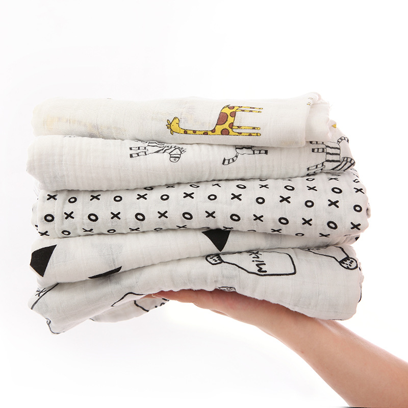 Black Serious Muslin Cotton Baby Swaddles For Newborn Baby Blankets Black & White Gauze Bath Towel