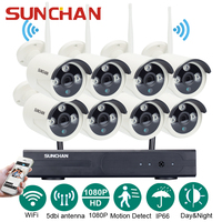 SUNCHAN 8CH 1080P HD Wireless Network IP Security Camera System WIFI NVR Kits 8PCS 2 0