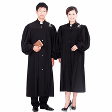 The priests gown holy Clothing missionary Gown Robe Black Priest Cassock Clergyman Vestments Single Breasted Button