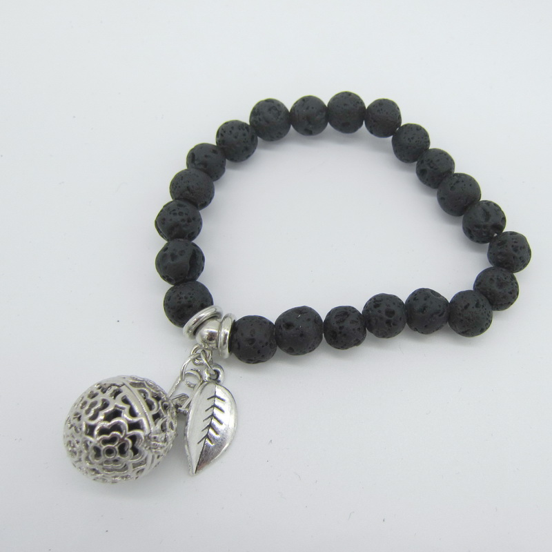 Locket Charm Bracelet: Simple Style Black Lava Beads With Small Charm And