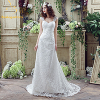 2016 New Sweetheart White Lace Wedding Dresses With Beading Floor Length Bridal Gowns Robe De Mariage