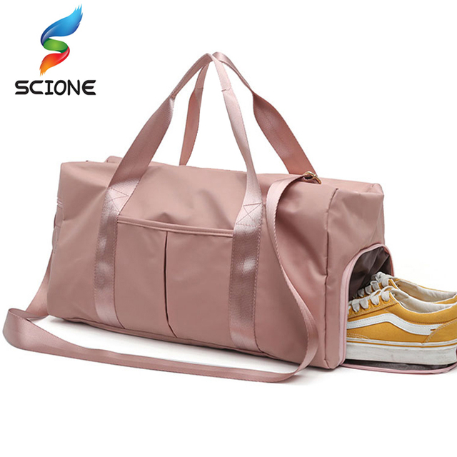 Outdoor Waterproof  Nylon Sports Gym Bags Men Women Training Fitness Travel Handbag Yoga Mat Sport Bag with shoes Compartment