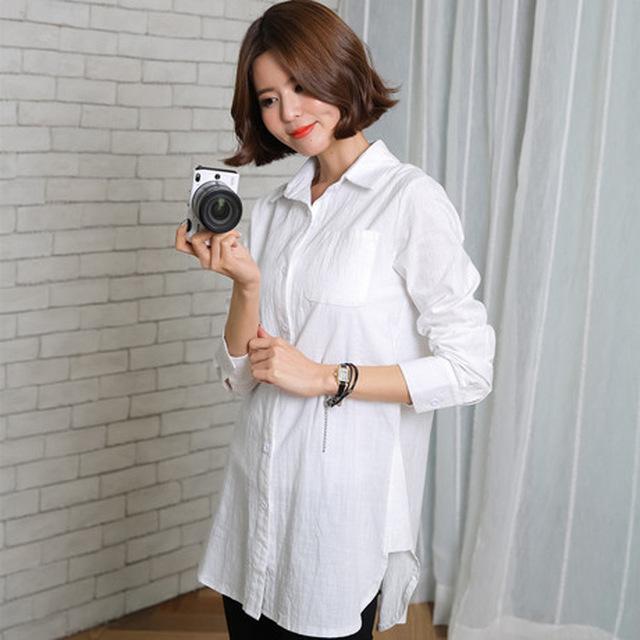 2016 nueva primavera de maternidad de algodón y lino camisas de manga larga más mujeres del tamaño de camisas blusa embarazada ropa de maternidad 16392