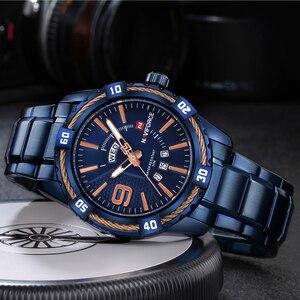 Image 5 - Naviforce montre à Quartz pour hommes, de marque de luxe, étanche, en acier inoxydable, horloge à Quartz