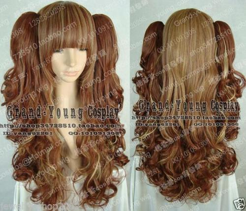 Cosplay LOLITA Brown Mixed Curly Split type Heat Resistant Wigs long side bang mixed color tail adduction stunning cosplay lolita synthetic wig for women