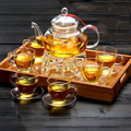 Элегантный стеклянный чайный набор  боросиликатный стеклянный чайник с чашками  бамбуковый чайный поднос  чайный набор  теплый стеклянный ...