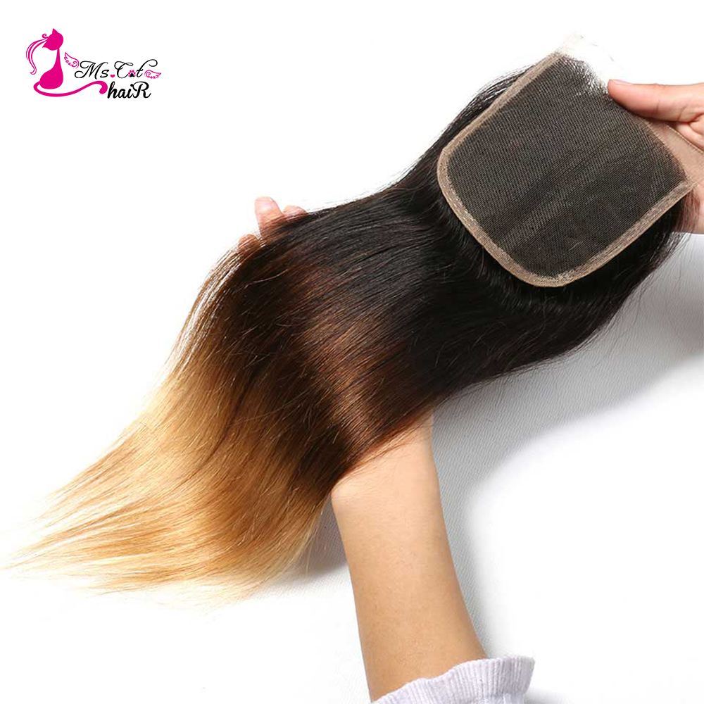 Ms Cat Hair Ombre Color 1B 4 27 3 Tone Brazilian Straight Hair 4 x 4