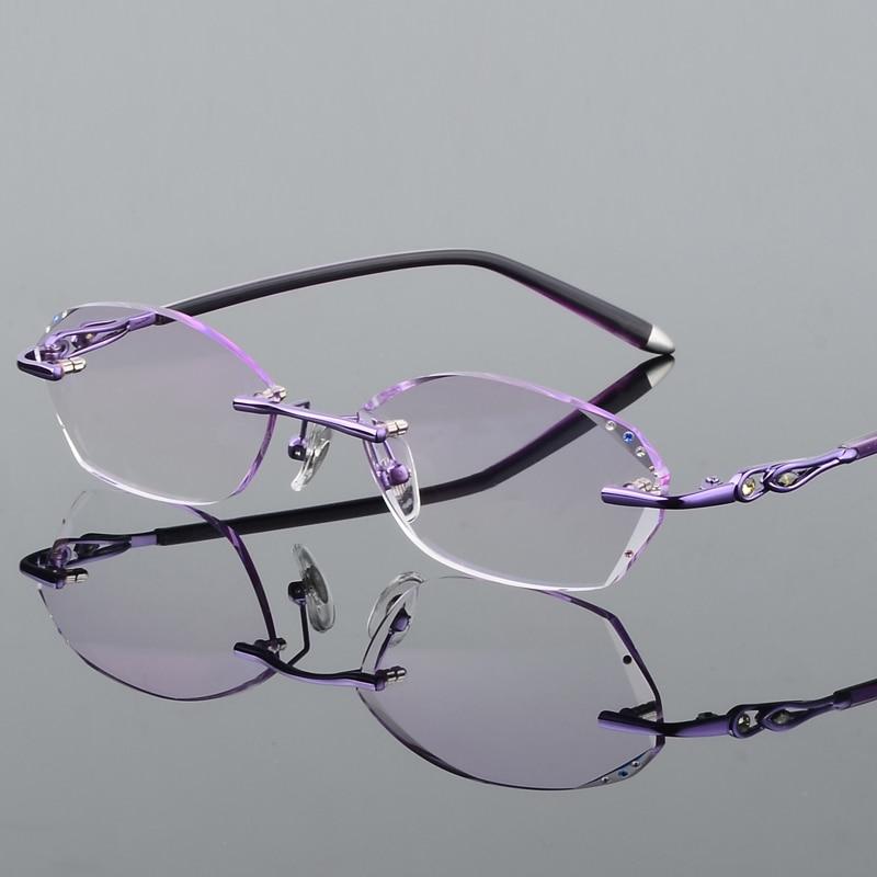 Trimmen Randlose Diamant Flut Rahmen Mit Weibliche Presbyopie 18 Gradienten Koreanische Gläser Ultraleicht Brille qwpXYX5
