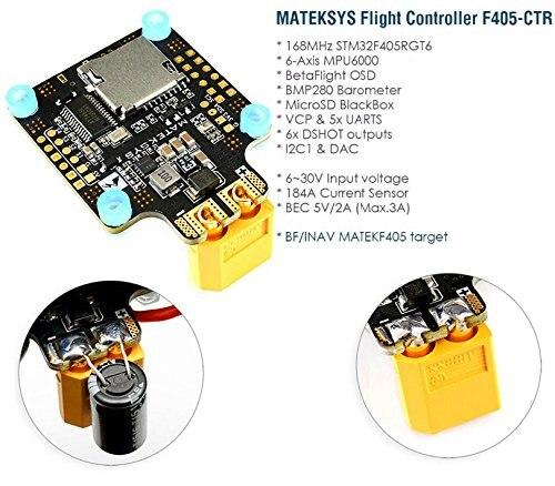 Matek MATEKSYS F405-CTR F405 AIO BFOSD STM32F405 contrôleur de vol intégré PDB 5 V/2A BEC fente pour carte SD BMP280 pour Drone F4 RC