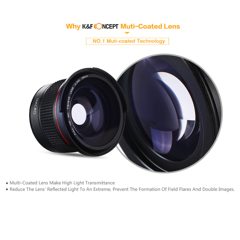 K&F Concept 58MM 0.35X Ultra Clear Blue Film Coated Fish Eye Lens + Microfiber Cloth for Canon Nikon DSLR Cameras free shipping 13