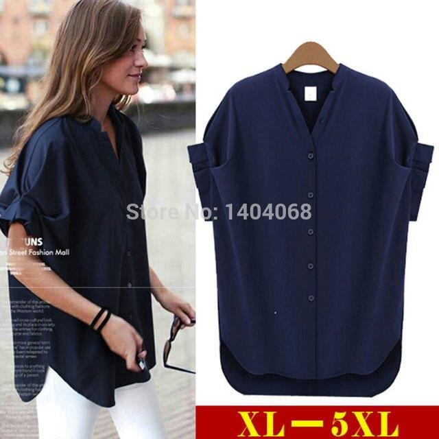 Xl 5XL verão mulheres Tops Batwing luva Chiffon Blusas Blusas camisa Feminina feminino Casual