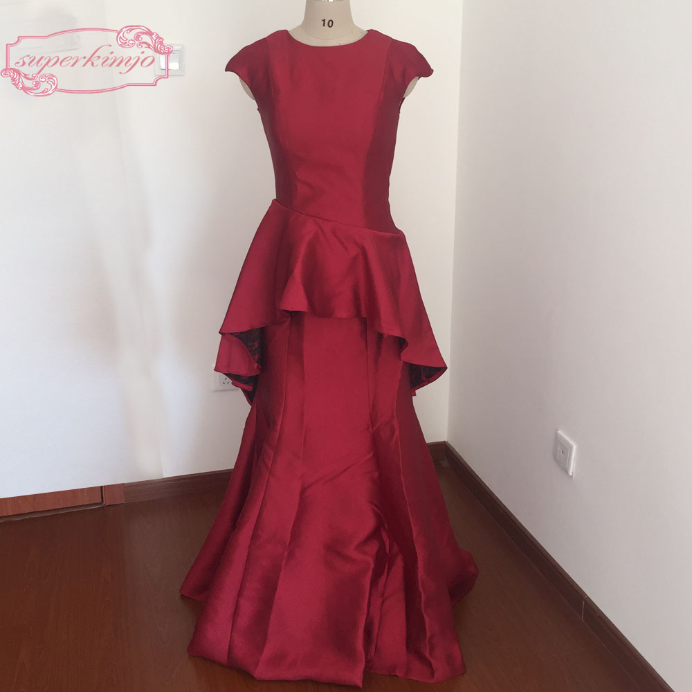 Newest Evening Dresses Floor Length Crew Neckline Peplum Burgundy Satin  Prom Dresses Real Picture-in Prom Dresses from Weddings   Events on  Aliexpress.com ... 6d28a447f