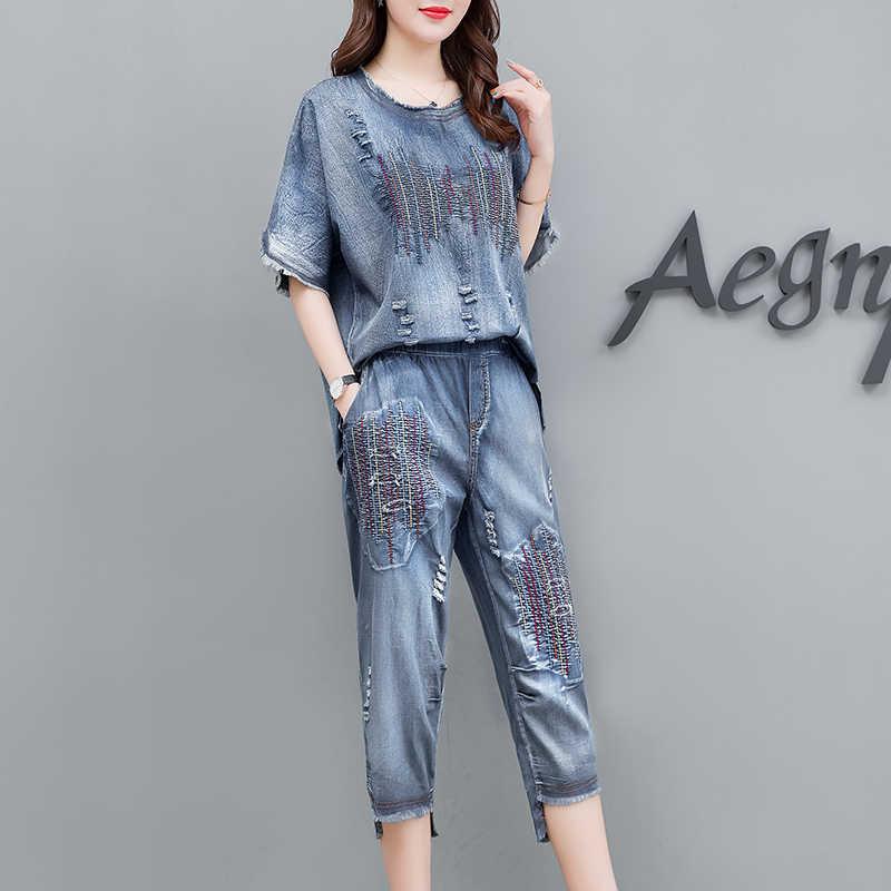 2019 nueva moda verano las mujeres bordado thin denim de manga corta + traje de pantalones cortos de dos piezas conjunto mujer plus tamaño