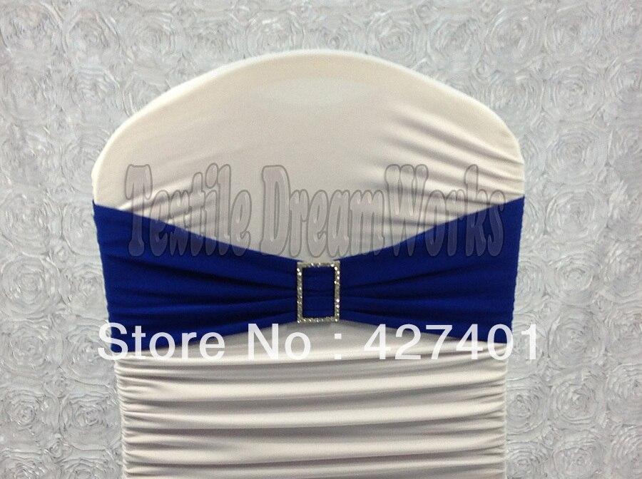 4a0717f0fc2d Vendita calda Fasce Blu Spandex Lycra Banda Chair Covers Sash Con  Rettangolo Diamante Fibbia Per Wedding   Banquet