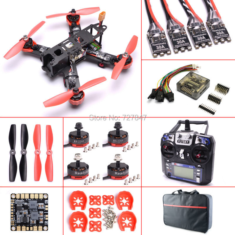 Ready to Fly Mini 210mm 210 RS2205 2300kv Motor F3 Flight Control 30A ESC w/ Hobbywing XRotor micro BLHeli Firmware For QAV210 naza m v2 flight control