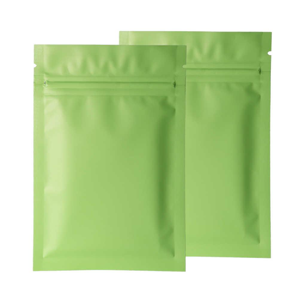 Разные размеры 100 шт Теплоизоляционный плоский замок на молнии мешочки слеза зазубрины матовая зеленая алюминиевая фольга замок на молнии пластиковый пакет