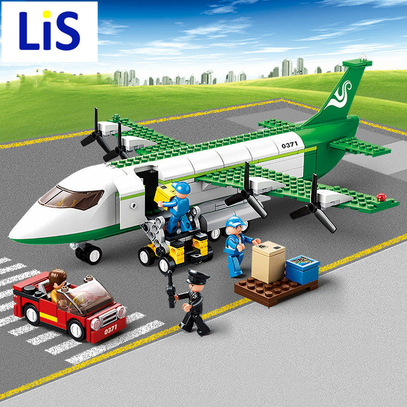 Lis 0371 Sluban City Airport Airplane Building Blocks Toy Set Aircraft Model Bricks Toy City Planes Compatible with lepin