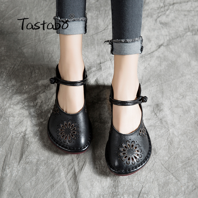 Tastabo Leather Women's Shoes Flat Casual Shoes Openwork Pattern Shoes Comfortable Soft Bottom Breathable Black Red Single Shoes