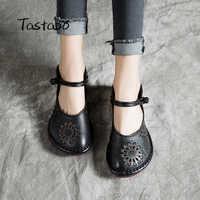Tastabo scarpe Piatto scarpe casual modello Openwork scarpe delle donne di Cuoio morbido, Confortevole E traspirante fondo Nero rosso singolo scarpe