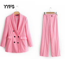 Women Suit Set Blazer Pockets Double Breasted Long Sleeve Of