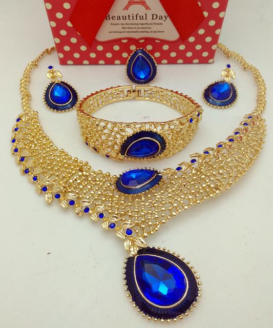 2016 Ethiopian Jóias Dubai Banhado A Ouro Conjuntos de Jóias de Casamento Nigeriano Africano Contas de Cristal Colar Brincos Conjunto de Jóias
