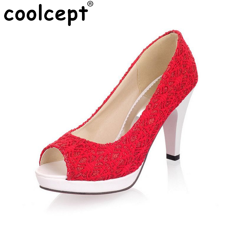 Ladies Stiletto High Heels Peep Toe Shoes Dress Shoes Women Wedding Lace Sexy Casual Slip-On Platform Pumps Size 31-43 PA00382 2017 shoes women med heels tassel slip on women pumps solid round toe high quality loafers preppy style lady casual shoes 17