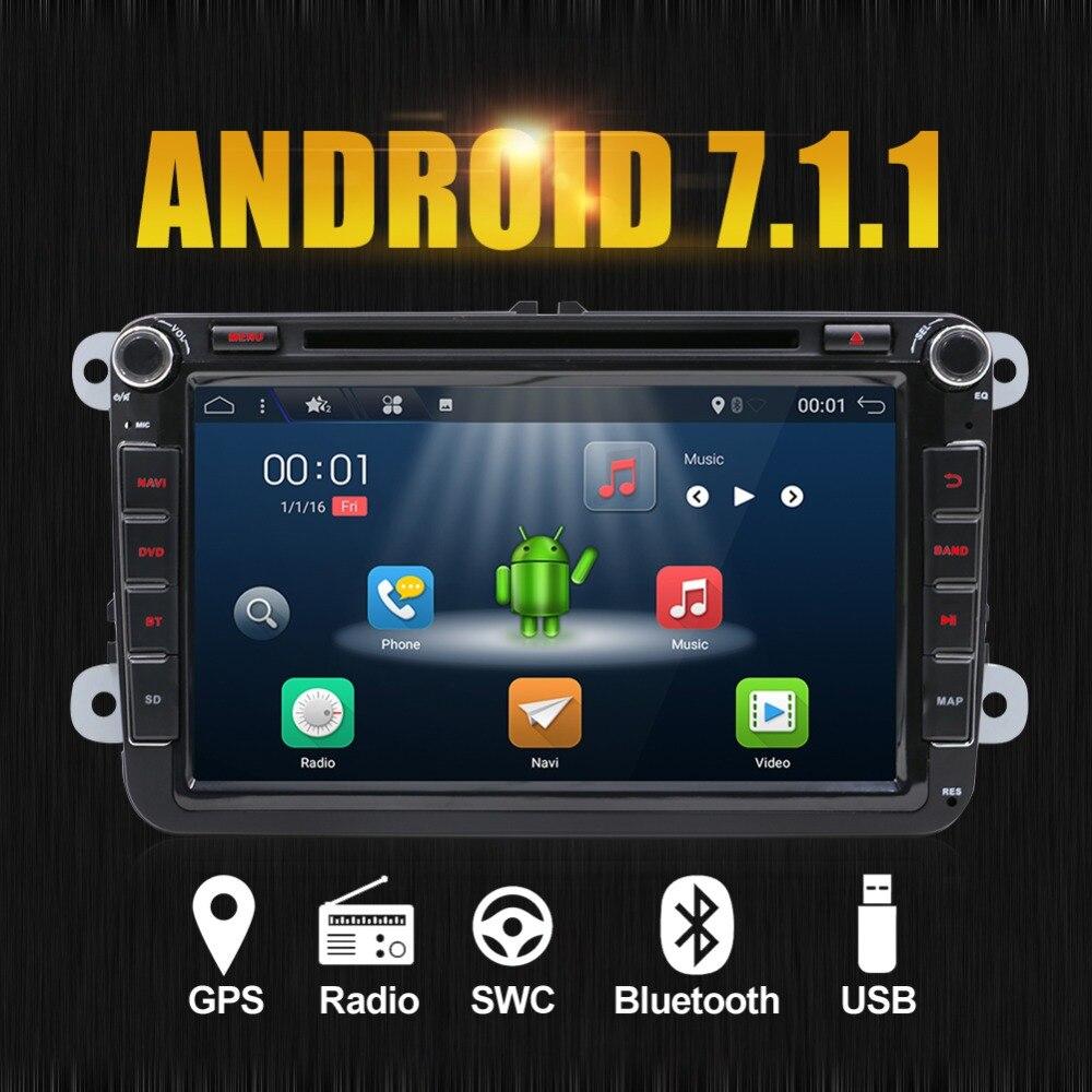 Android 7.1 autoradio stéréo unité de tête DVD GPS RadioFor Volkswagen VW Skoda POLO PASSAT CC JETTA TIGUAN TOURAN SHARAN GOLF 5 6 7