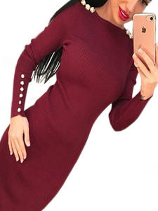 SMILE FISH Midi Dress Women Sexy Long Sleeve Bodycon Dress