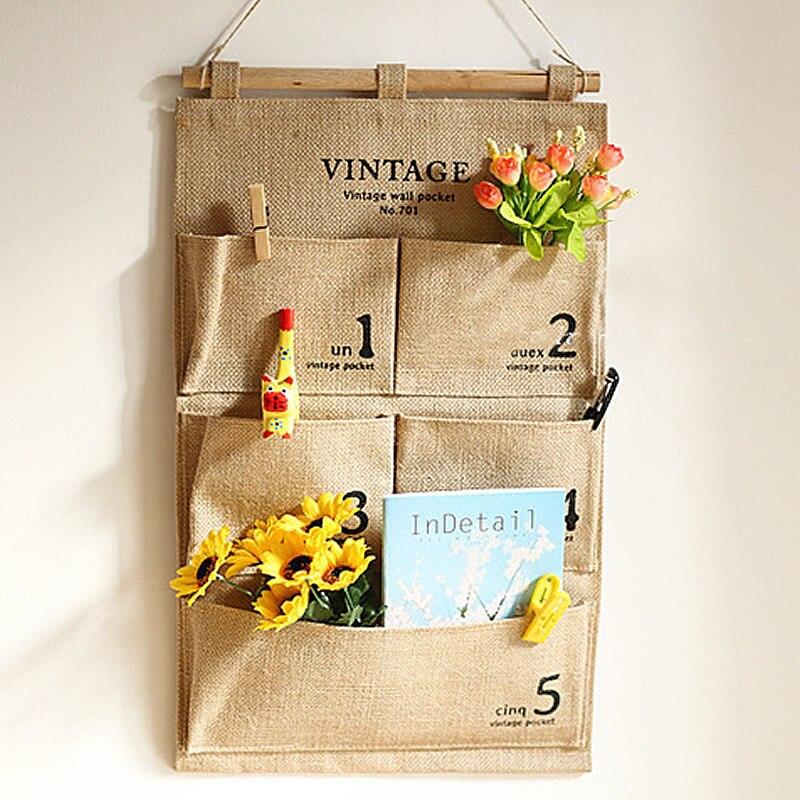 New Vintage 5 Pocket Jute Hanging Storage Bag Number Sundries Cosmetic  Organizer Wall Pocket Kitchen Office