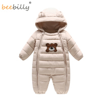 2017 Winter New Baby Bodysuits One Pieces Boys Grils Clothes Long Sleeve Hooded Infant Clothing Kids