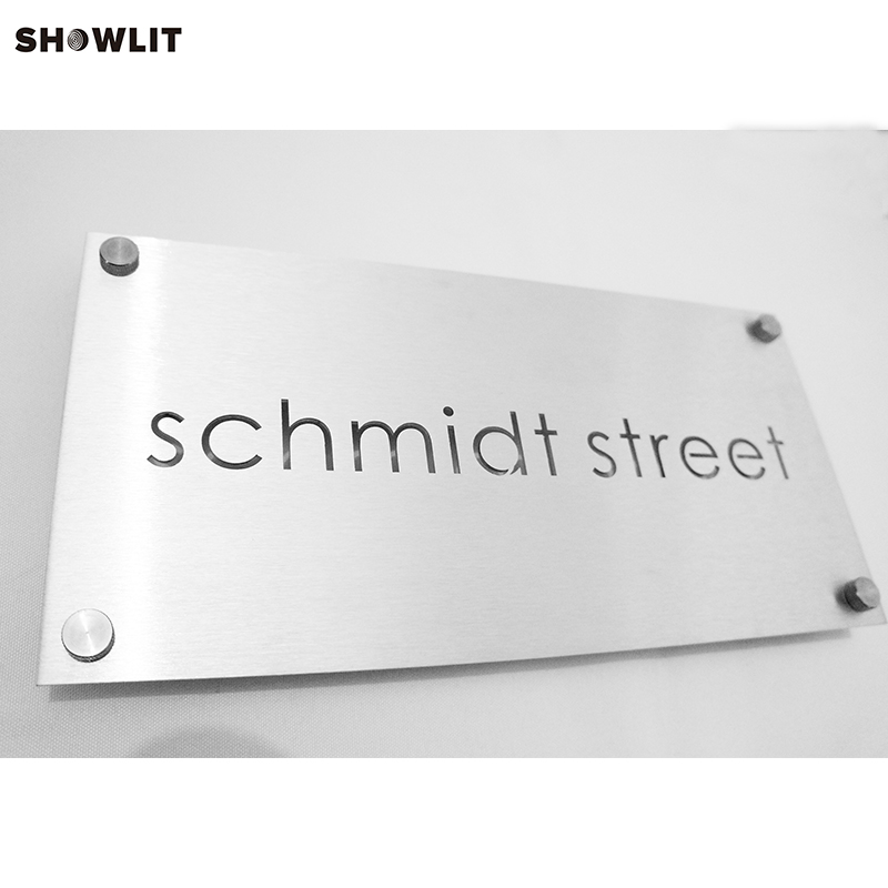 Brushed Aluminum Custom Made Craftman Address Plaque modern brushed aluminum install address signs