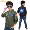 Kindstraum niños chaqueta y escudo niños otoño chaqueta rompevientos chaqueta de bombardero ejército verde del muchacho ropa de la fuerza aérea, MC418