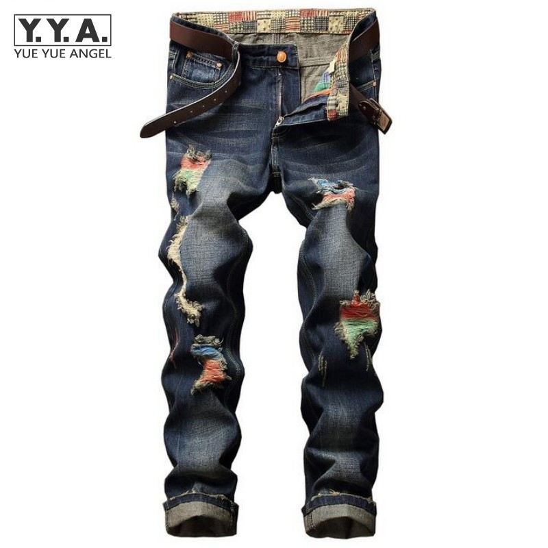 Summer Men Hole Jeans Trousers Colorful Painted Casual Cotton Slim Fit Mens Denim Pants Tide Hip Hop Distressed Masculina Jeans 2017 ripped straight jeans men slim fit zipper jeans men s hole denim fabric hip hop skinny cotton white blick pants casual mens