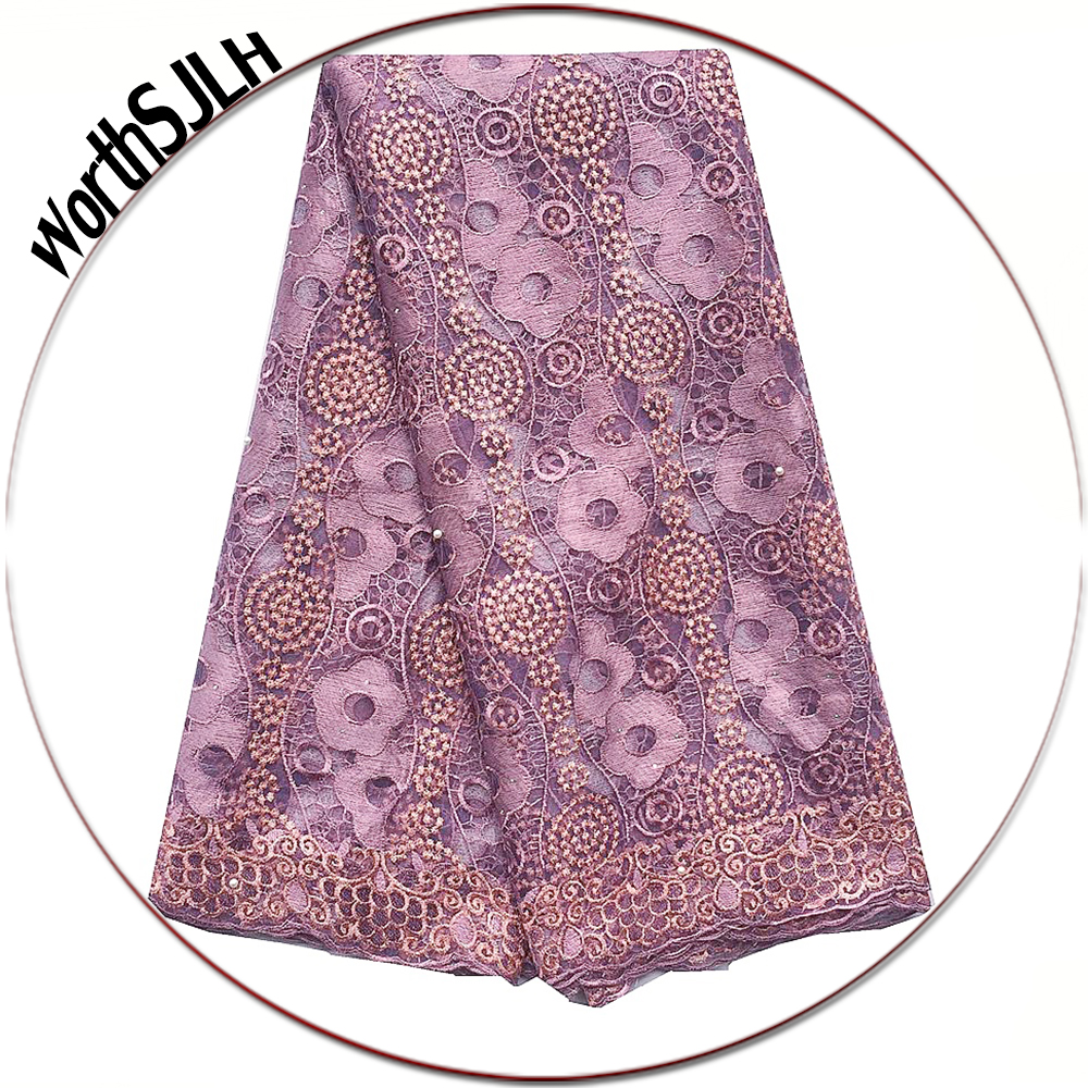 African Swiss Lace Material Pink Lilac Latest Nigerian Lace Fabric 2019 High Quality Beaded Bridal Lace