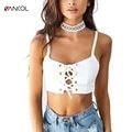 Vancol lace up sexy strapless camisa senhoras verão praia sexy cropped tops de fitness fêmea branca sem mangas tanque curto top das mulheres
