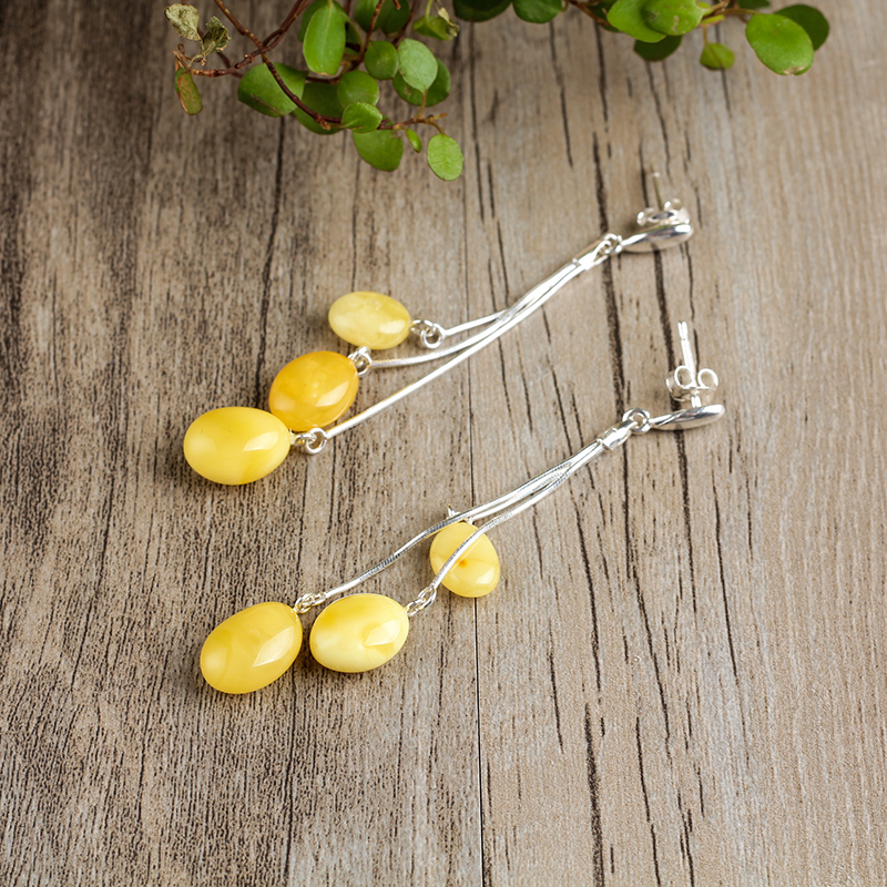 100% natural White honey earrings 925 sterling silver inlaid earrings Baltic amber beeswax Free shipping Free shipping Fashion genuine natural baltic beeswax earrings amber beeswax pure silver earrings earrings female female 925 silver jewelry de005
