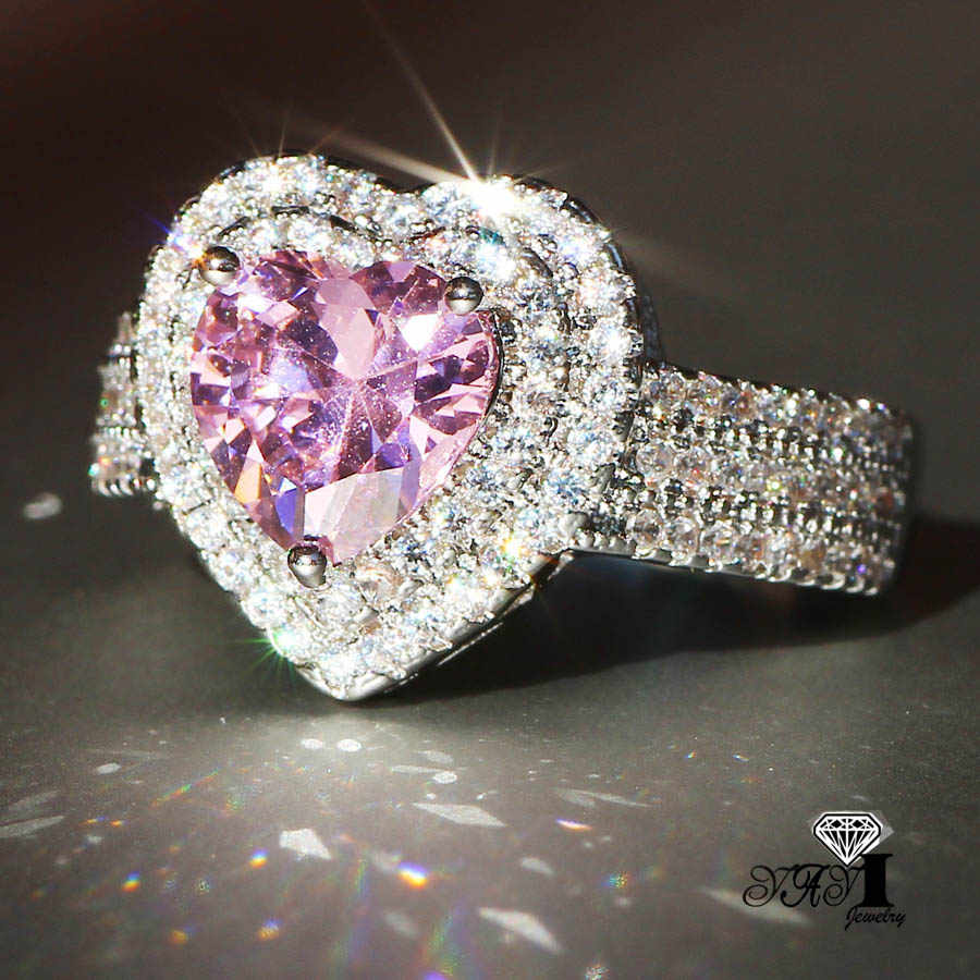 YaYI Fashion Wanita Perhiasan Cincin Warna 2.9CT Pink Zircon CZ Perak Engagement Rings wedding Rings Partai Rings